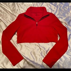 Red Cropped Gap Fleece Pull Over Jacket